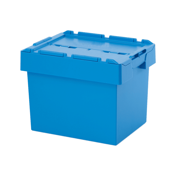 Attached lid container/ Plastic container with attached lid/ Attached lid container/ box/ tote