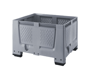 Strong industrial box/ Reinforced plastic box/ Large perforated box for industrial use/ Solid walls industrial box