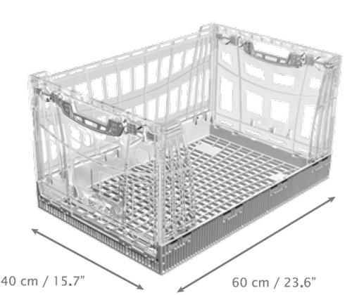 See-through crate/ transparent plastic crate/ display transparent crate