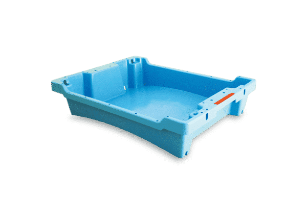 Solid plastic container/tote/ box for fish/ Solid container with drainage holes/ Solid walls plastic container for fish with draining