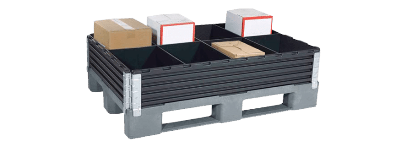 pallet collars with products loaded onto the pallet